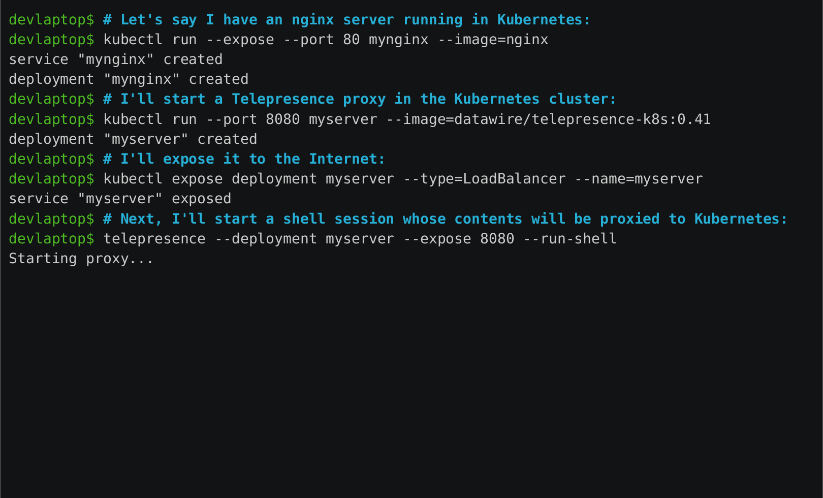 Telepresence local development and debugging against a remote Kubernetes cluster