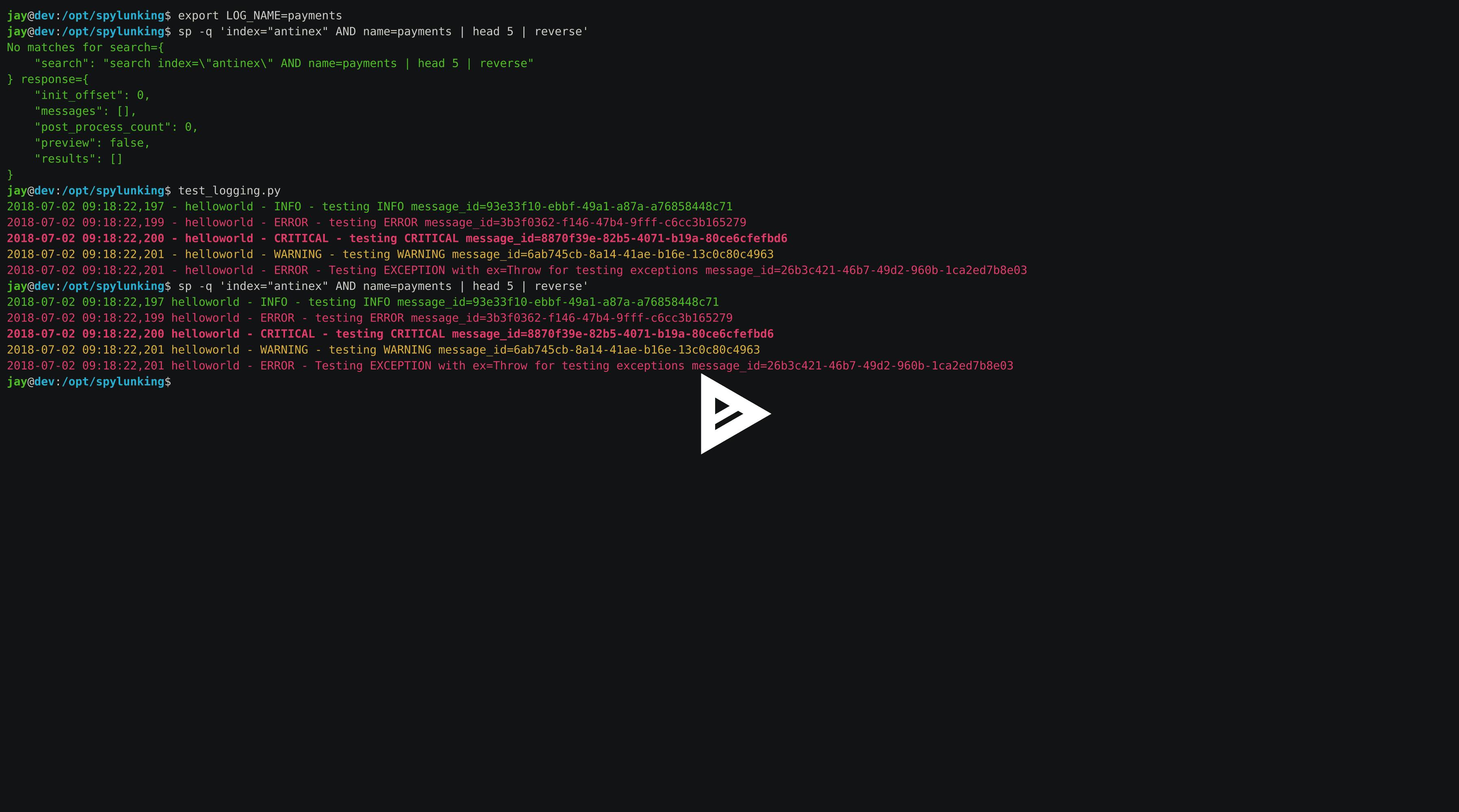 Publishing Logs to Splunk using the Spylunking Logger