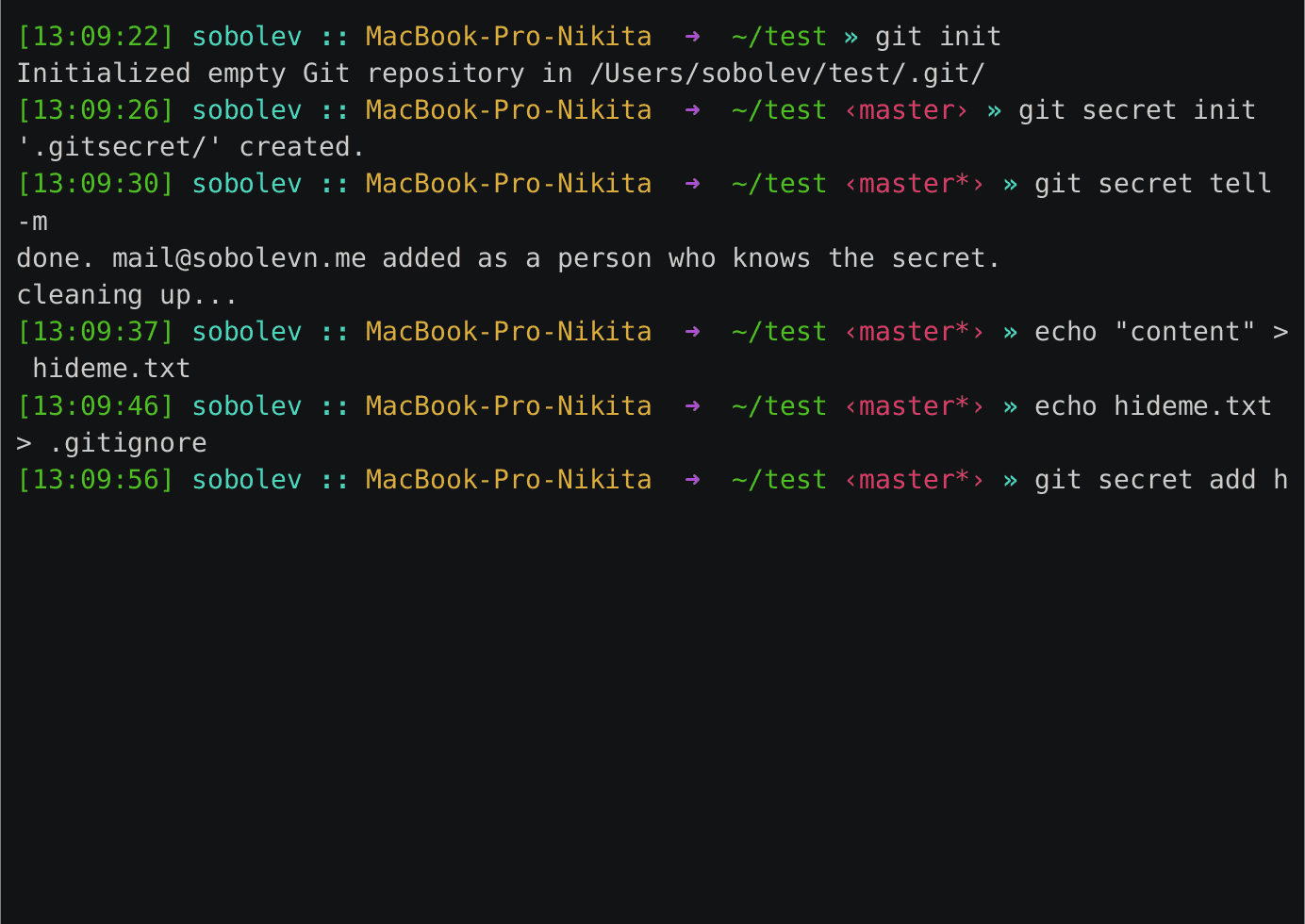 git-secret terminal preview